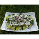 Celerový salát se žampiony a pepřovou kešu zálivkou