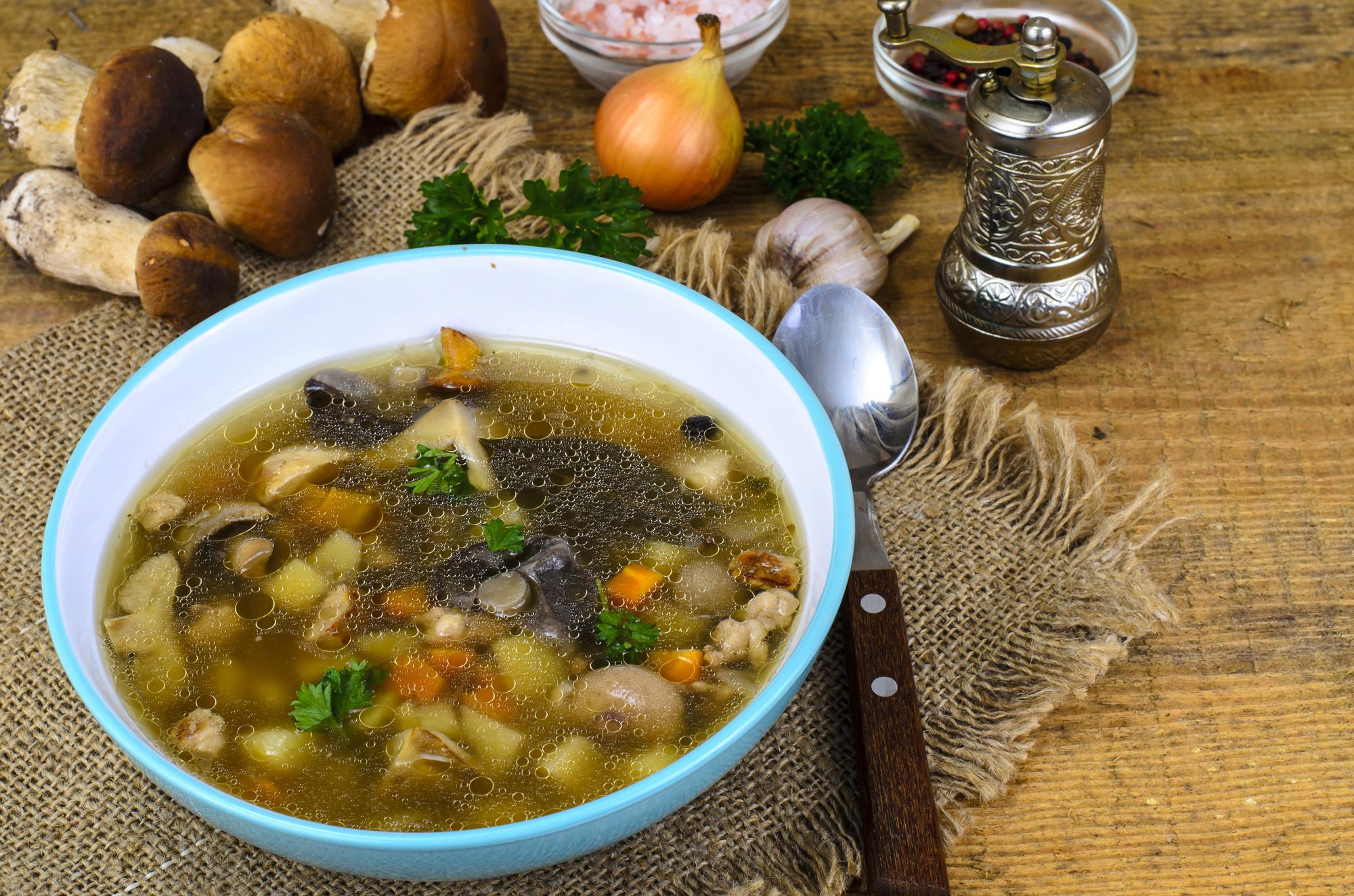 Hrstková polévka s hlívou